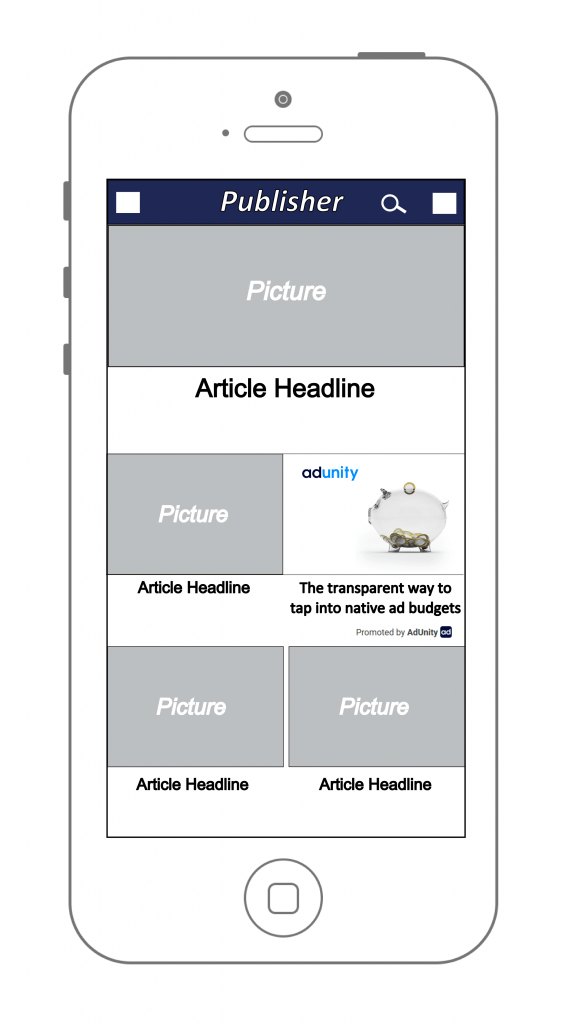 AdUnity demo native ad in mobile v1 news-feed ad